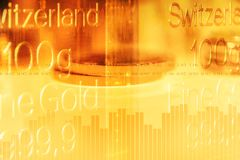 Graph and rows of gold coins for finance and business concept. Trade in precious metals. Double exposure of graph and rows of gold coins. Economy trends stock illustration