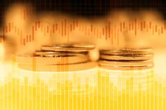 Graph and rows of gold coins for finance and business concept. Trade in precious metals. Double exposure of graph and rows of gold coins. Economy trends vector illustration