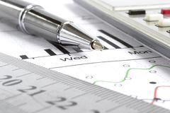 Graph, ruler and calculator. Business background graph, ruler and calculator stock photography