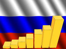 Graph with Russian flag Royalty Free Stock Photos