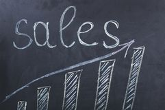 Graph and sales word on blackboard stock illustration