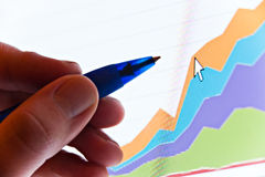 Graph on screen Royalty Free Stock Photos