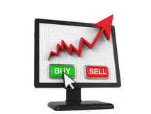 Graph Screen with Buy and Sell Button Royalty Free Stock Images