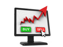 Graph Screen with Buy and Sell Button Royalty Free Stock Image