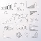 Graph Set Finance Diagram Infographic Hand Draw Royalty Free Stock Photography