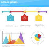 Graph Set Finance Diagram Infographic Icon Financial Business Chart. Flat Vector Illustration Royalty Free Stock Photos