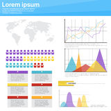 Graph Set Finance Diagram Infographic Icon Financial Business Chart. Flat Vector Illustration Stock Images