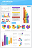 Graph Set Finance Diagram Infographic Icon Financial Business Chart. Flat Vector Illustration Royalty Free Stock Image
