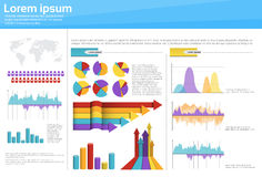 Graph Set Finance Diagram Infographic Icon Financial Business Chart. Flat Vector Illustration Stock Image