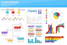 Graph Set Finance Diagram Infographic Icon Financial Business Chart. Flat Vector Illustration Stock Photography