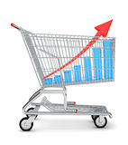 Graph in shopping cart Stock Photo