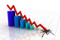Graph showing business decline. 3d render of Graph showing business decline Royalty Free Stock Photography