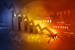 Graph showing business decline. Financial background royalty free illustration