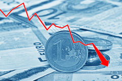 Graph showing the decline of Euro paper currency and coins Royalty Free Stock Image