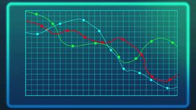 Graph showing decline of financial indices during financial crisis, bankruptcy. Stock image Royalty Free Stock Images