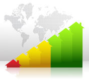 Graph showing financial real estate growth. Illustration Royalty Free Stock Images