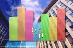 Graph showing rise in profits or earnings. On business architecture background royalty free stock image