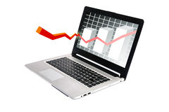 The graph shows computer screen. Illustration of upward arrow coming out of laptop on isolated background Stock Photo