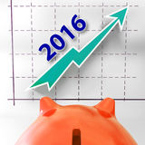 Graph 2016 Shows Forecast Of Rising Sales Stock Image