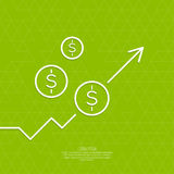 The graph shows the growth and profit. Income from a successful investment. Bank asset growth through profitable investments. green background. dollar sign Stock Photo
