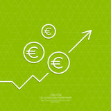 The graph shows the growth and profit. Income from a successful investment. Bank asset growth through profitable investments. green background. euro symbol Stock Photography