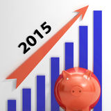 Graph 2015  Shows Rising Sales And Income. Graph 2015  Showing Rising Sales And Income Royalty Free Stock Image