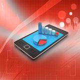 Graph on smart phone. In color background Royalty Free Stock Photography