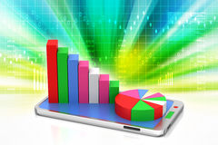Graph on smart phone. In color background Stock Photo