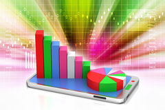 Graph on smart phone. In color background Royalty Free Stock Image