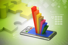 Graph on smart phone Royalty Free Stock Images