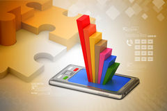 Graph on smart phone Royalty Free Stock Photos