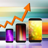 Graph with  smartphone on abstract  background,cell phone illust. Ration Stock Image