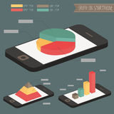 Graph on smartphone. Graph on black smartphone vector Royalty Free Stock Photo