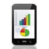 Graph on smartphone,cell phone illustration Stock Photo