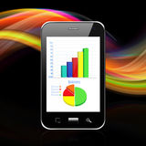 Graph on smartphone,cell phone illustration Stock Images