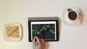 Graph of stock market data analysis. Graph of stock market data analysis and financial investment trade. Tablet showing trade graph front the stock exchange stock footage