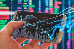 Graph of stock market data and financial with stock analysis ind Stock Photo