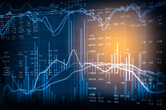 Graph of stock market data and financial with the view from LED Stock Image