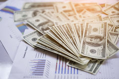 Graph,summary report text and money on the table abstract color Royalty Free Stock Photos