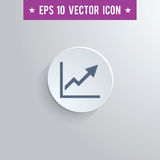 Graph symbol icon on gray shaded background. Stylish graph icon. Blue colored symbol on a white circle with shadow on a gray background. EPS10 with transparency Stock Images