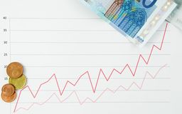 Graph symbolizing money rise Royalty Free Stock Photo