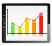 Graph in Tablet PC. Business graph on the screen of Tablet PC Stock Images