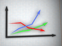 Graph with three arrows Royalty Free Stock Images
