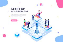 Startup Template for Web Page. Graph to discuss, consulting company launch new startup. Product insurance or tech dashboard space. Infographic with characters stock illustration
