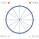 Graph to draw up a horoscope. Graphic to draw up a horoscope with the twelve zodiacal signs Stock Photography