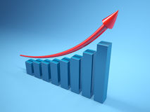 Graph to growth. Three dimensional graph to growth Royalty Free Stock Photography