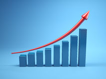 Graph to growth. Three dimensional graph to growth Stock Photography