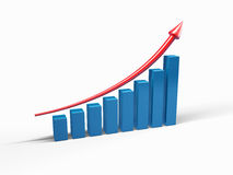 Graph to growth. Three-dimensional graph to growth Royalty Free Stock Photo