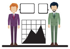A graph with two businessmen Royalty Free Stock Images