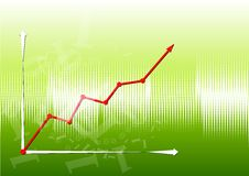 Graph up. On the green background Stock Photos